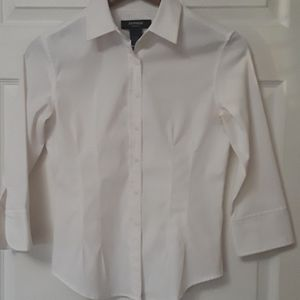 Express Sz 3/4 White Stretch Career Wear Blouse